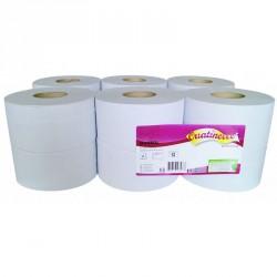 Papier toilette blanc MINIROL 2x15.5g/m² - Carton de 12 rouleaux - 2 plis - 180m - I351LMR