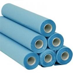 Draps d'examen bleus plastifiés gaufré collés 36g0/PE/m² - carton de 6 rouleaux - 180 formats - 50x38cm - J267GSM