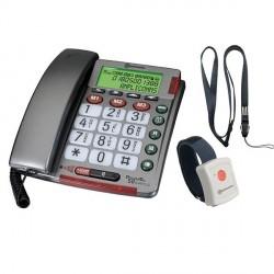 TELEPHONE FILAIRE ECRAN ET BRACELET APPEL URGENCE AMPLICOMMS POWERTEL97-AMP007